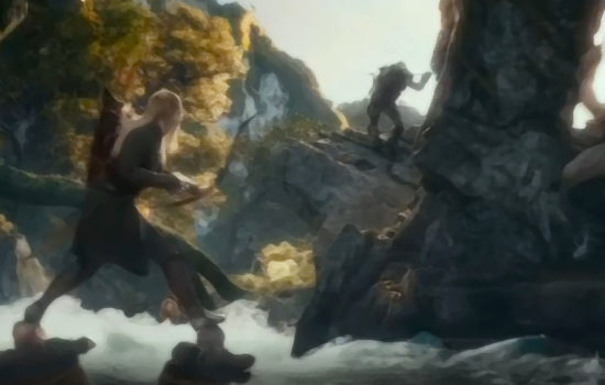 Legolas en combat dans la bataille de la rivière (The Hobbit) effet peinture
